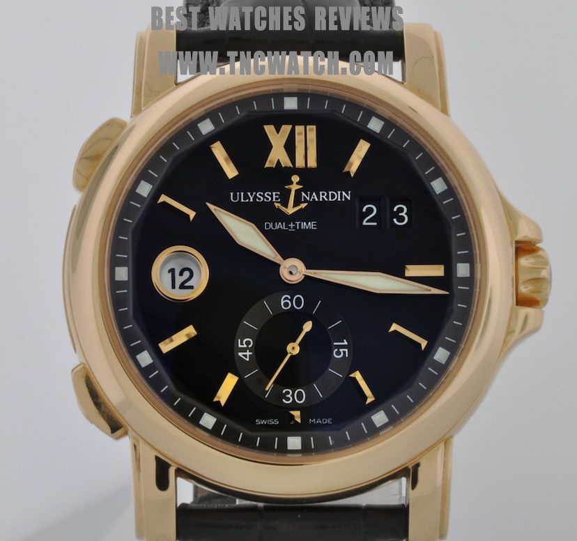 Gold mens ulysse nardin dual time 42mm automatic watch replica